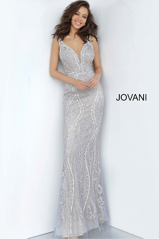 JVN03112 Grey Plunging Neckline V Back Prom Dress