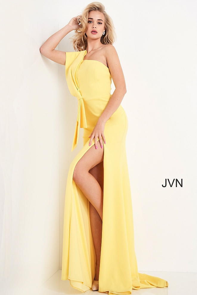 JVN03140 Yellow One Shoulder High Slit Prom Dress