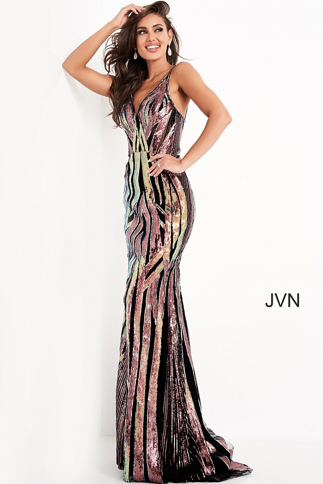JVN04549 Multi Embellished V Neck Prom Dress
