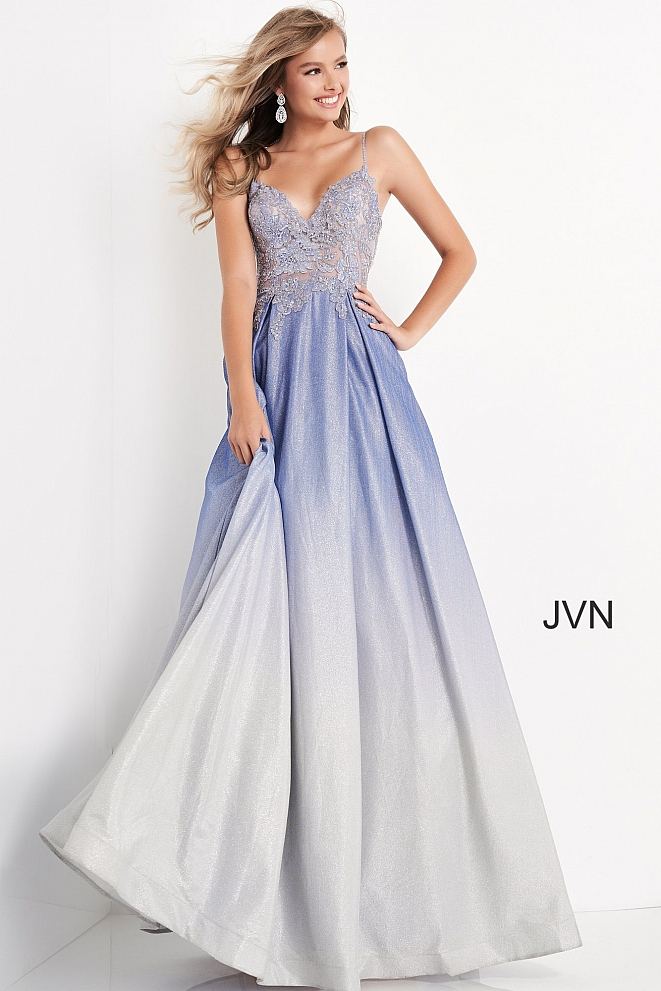 JVN04565 Perri Ombre Embroidered Bodice Prom Dress