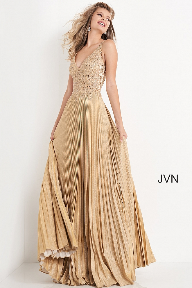 JVN04568 Gold Embellished Pleated Prom Dress