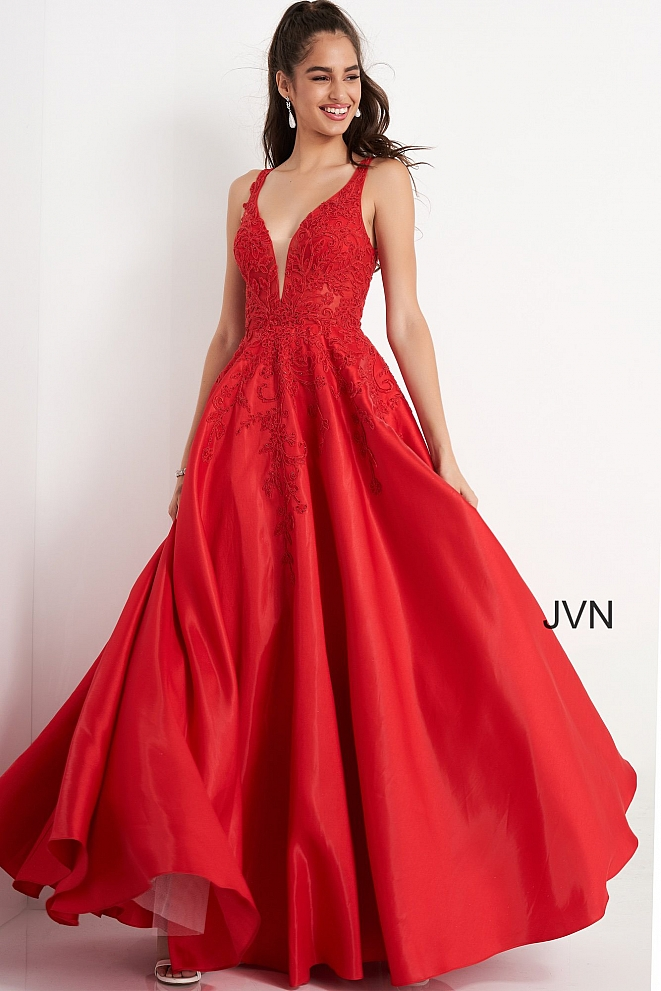 JVN04590 Red Embroidered Bodice Prom Ballgown