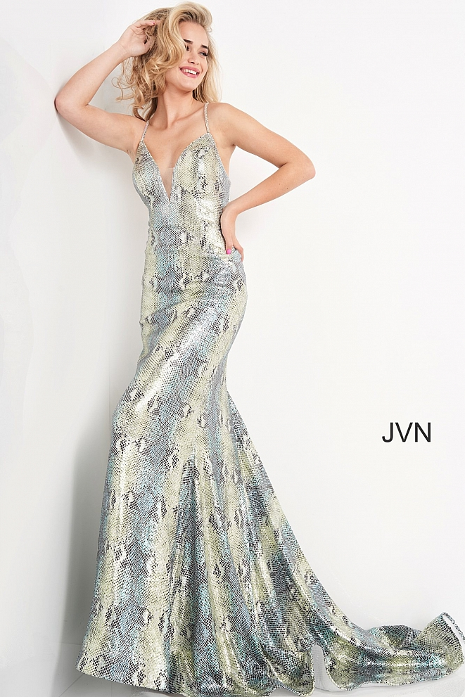 JVN05800 Blue Green Print Fitted Plunging Neck Prom Dress