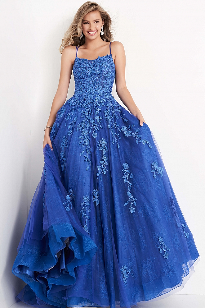 JVN06644 Cobalt Spaghetti Strap Embroidered Prom Gown