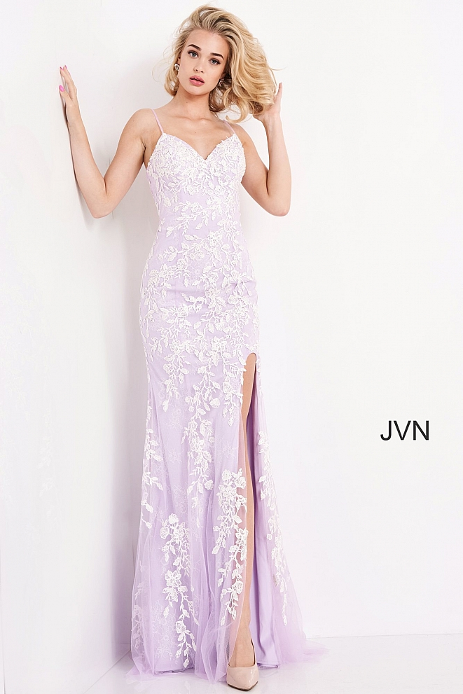 JVN06660 Lilac White High Slit Embroidered Prom Dress