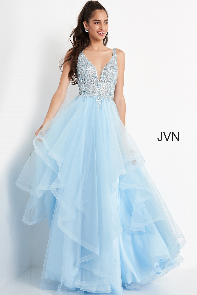 JVN06743 Sky Blue Embroidered Plunging Neck Prom Ballgown