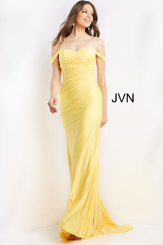 JVN07639 Yellow Off the Shoulder Ruched Prom Dress