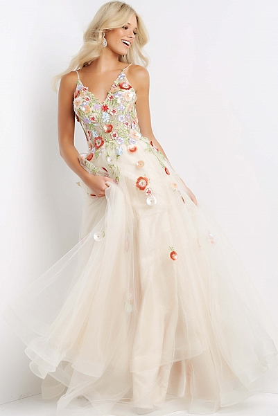 JVN08082 Nude Floral Appliques A Line Prom Gown