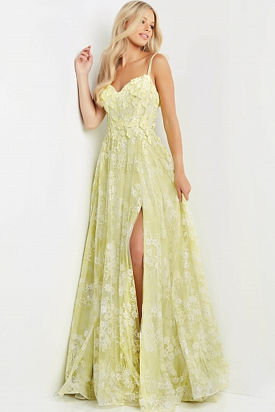 JVN08416 Yellow Floral Bodice Prom Dress