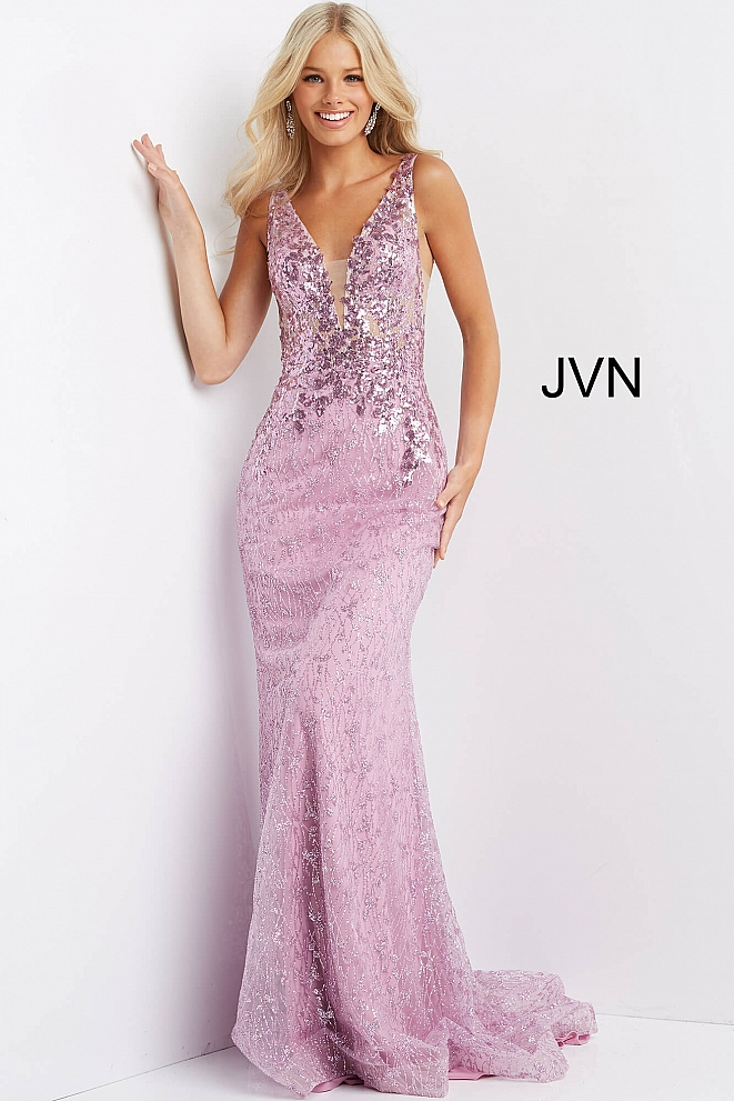 JVN08418 Fuchsia Glitter and Sequin Embellished Prom Dress