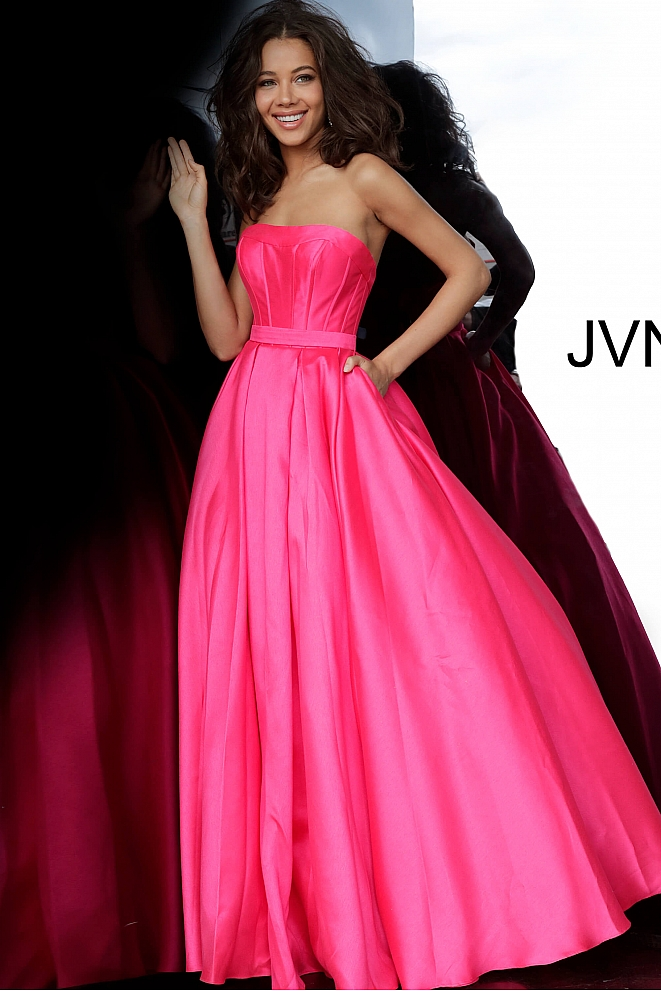 JVN1080 Fuchsia Strapless Pleated Skirt Prom Ballgown