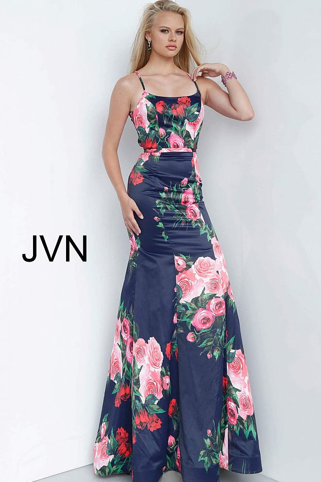 JVN1110 Navy Floral Print Tie Back Satin Prom Dress