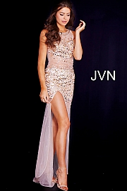 Jvn Gold Embellished Sheer Prom Dress JVN119