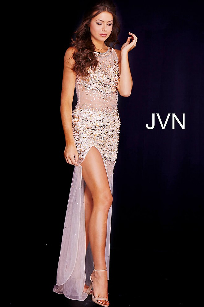 Gold Embellished Sheer Prom Dress JVN119