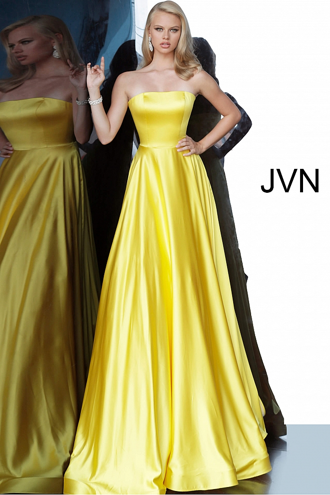 JVN1716 Yellow Satin Strapless A line Prom Dress