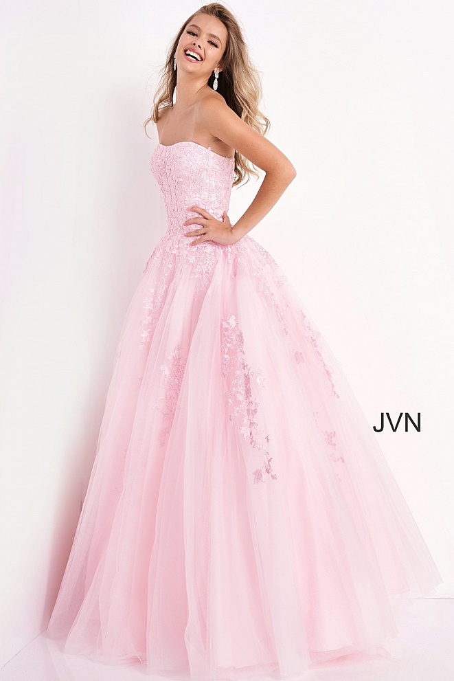 JVN1831 Light Pink Strapless Embroidered Ballgown