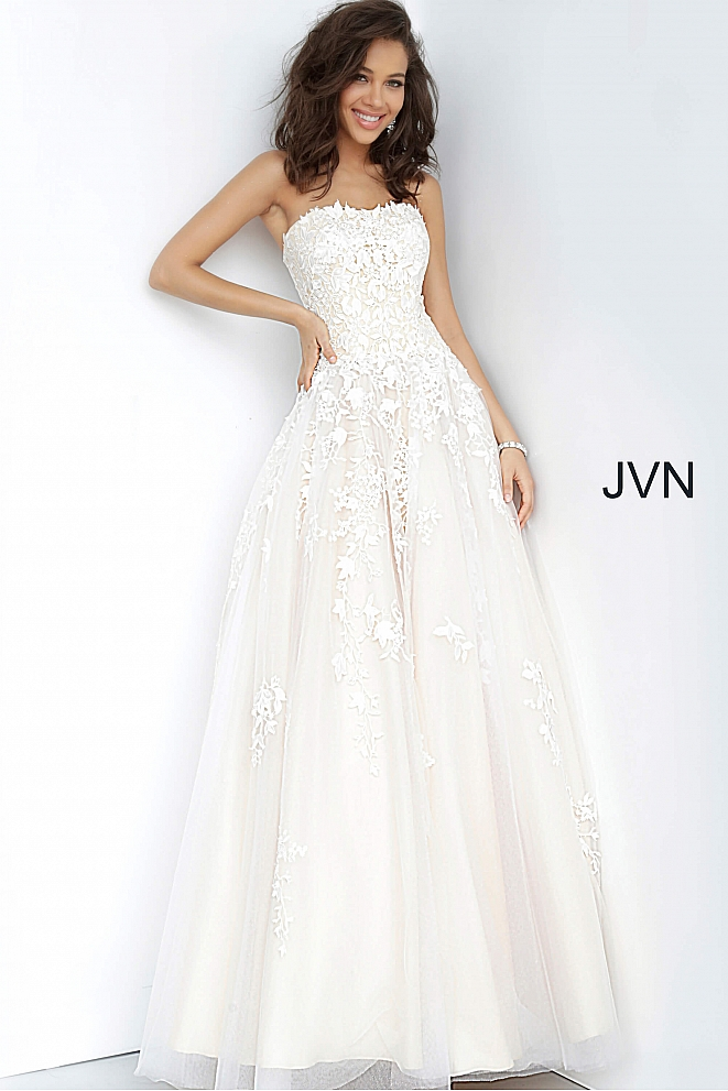 JVN1831 Off White Nude Strapless Embroidered Ballgown