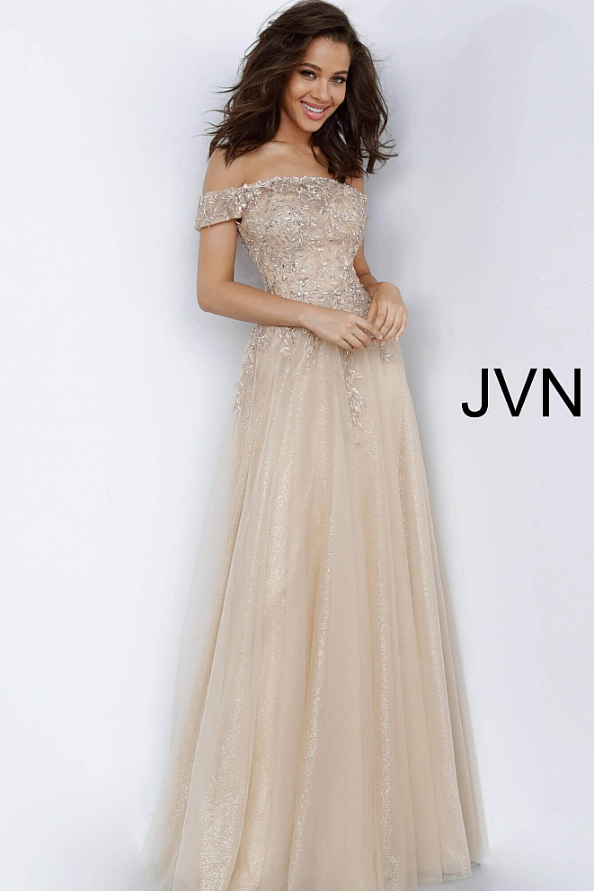 JVN2004 Gold Off the Shoulder Embroidered Evening Dress