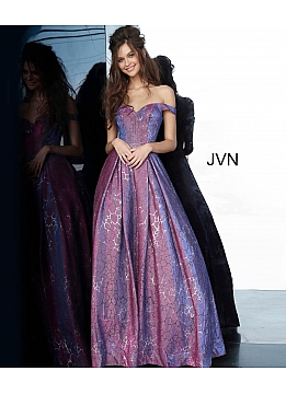 JVN2013 Purple Off the Shoulder Sweetheart Neck Prom Ballgown