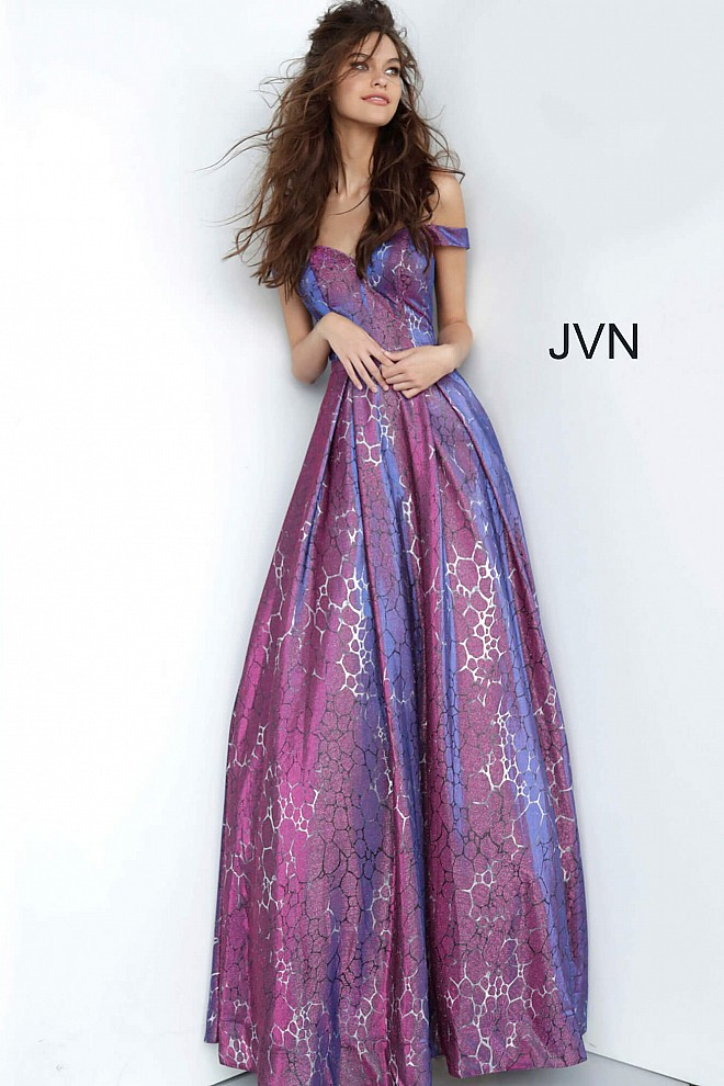 Purple Off the Shoulder Sweetheart Neck Prom Ballgown JVN2013