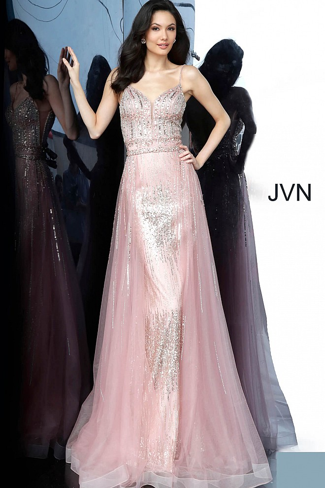 Peach Embellished Spaghetti Strap Prom Gown JVN2151
