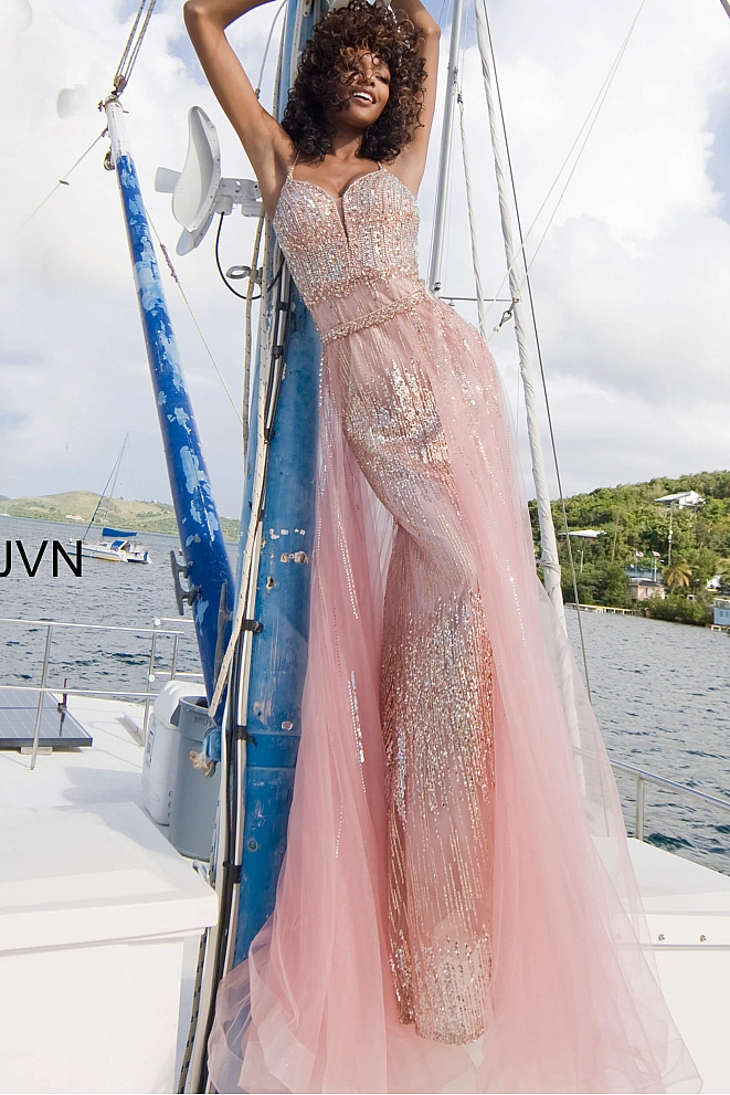 JVN2151 Peach Embellished Spaghetti Strap Prom Gown
