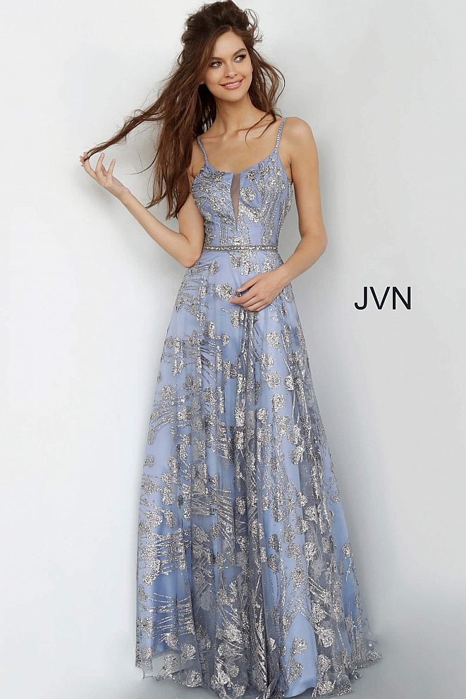 JVN2155 Blue Glitter Maxi Prom Dress