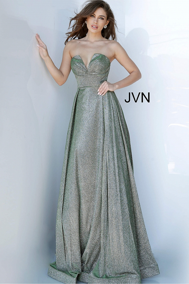JVN2169 Emerald Strapless Maxi Prom Gown