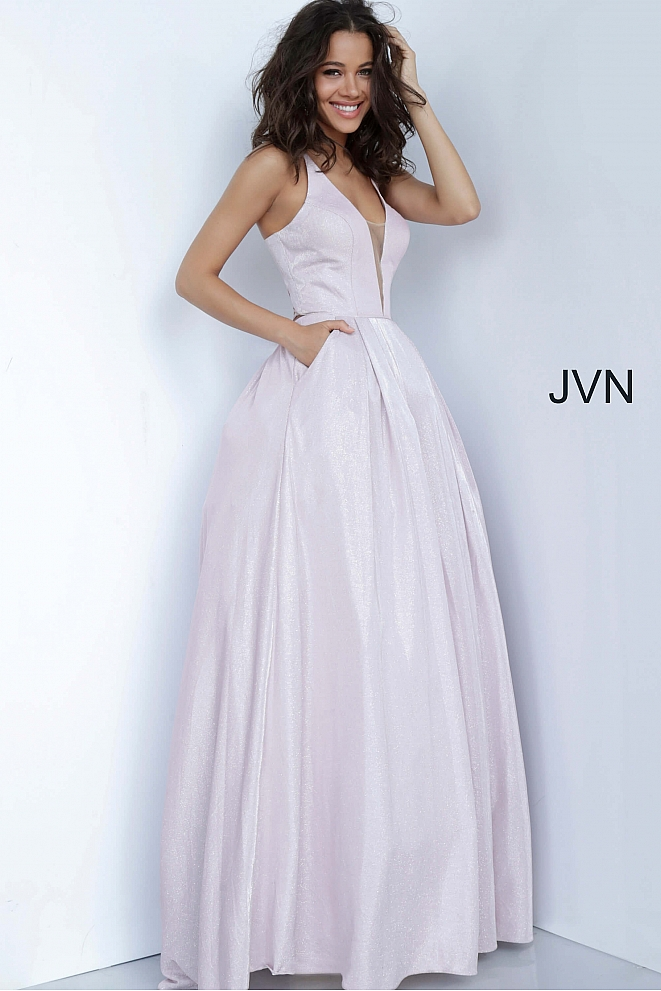 JVN2172 Mauve Tie Back Plunging Neck Prom Ballgown