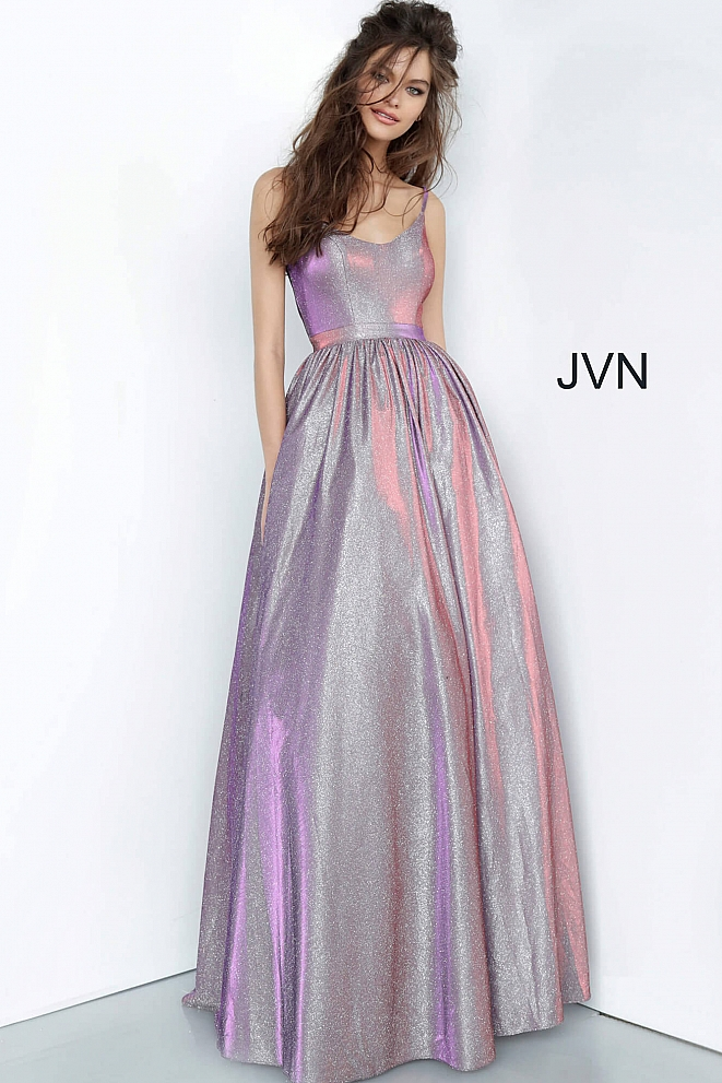 JVN2191 Purple Metallic Scoop Neckline Prom Ballgown