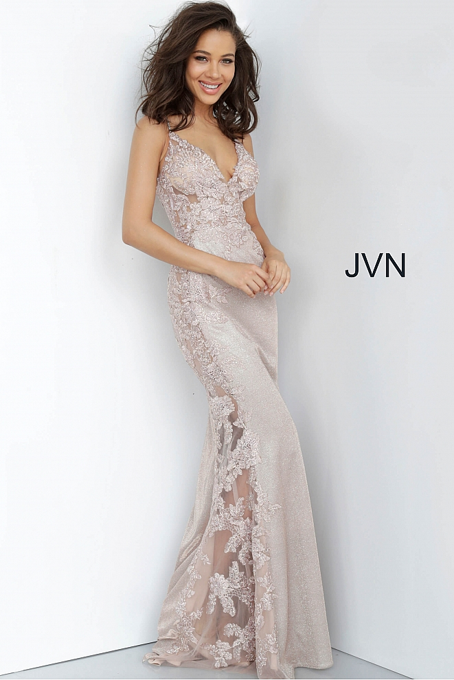 JVN2205 Embroidered Form Fitting Prom Dress