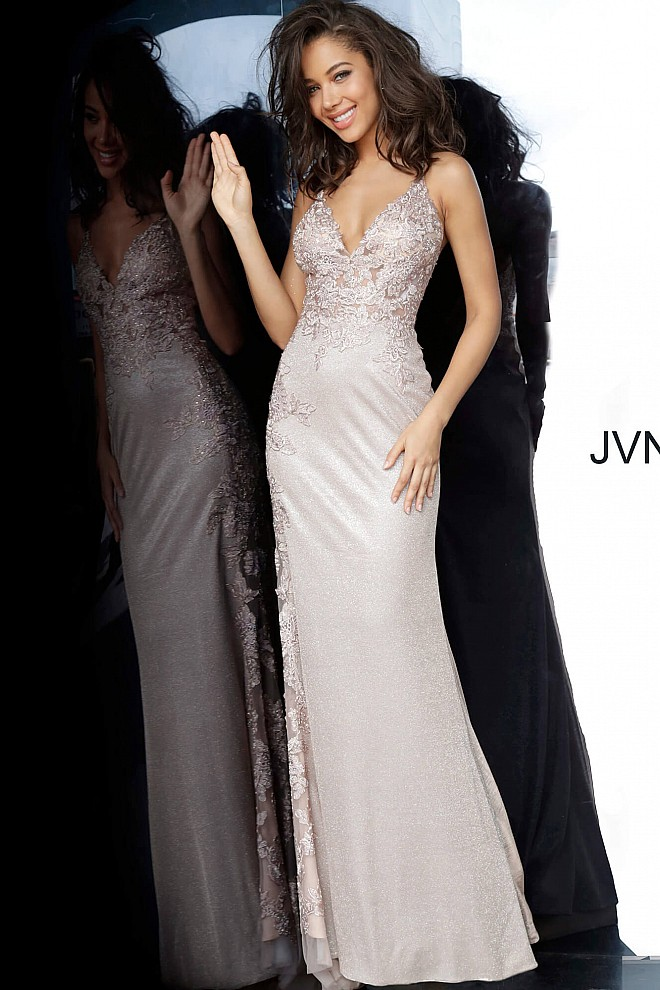 Nude Embroidered Form Fitting Prom Dress JVN2205