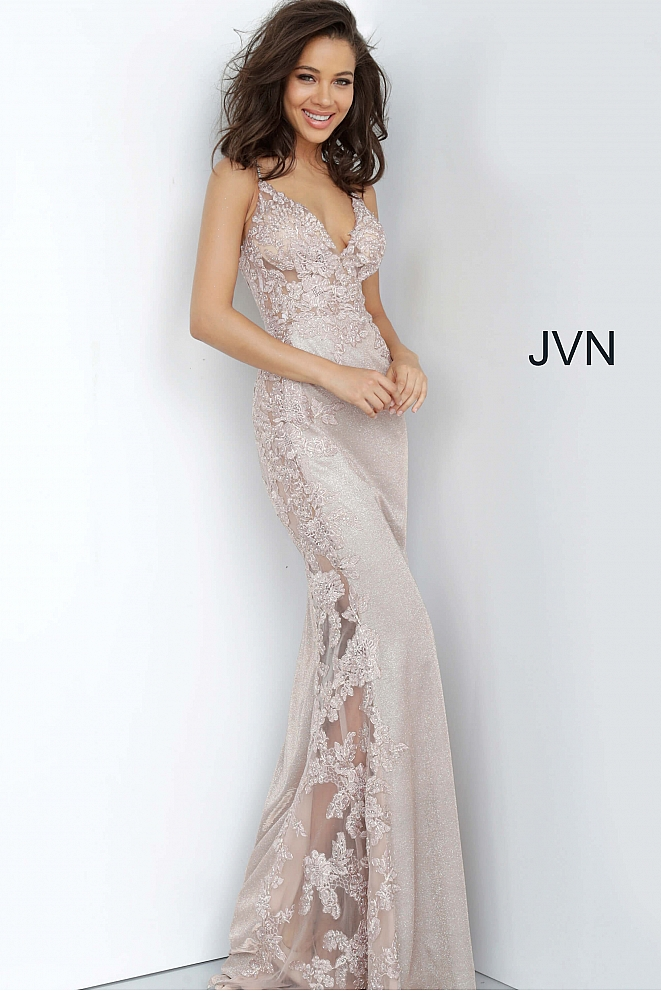 JVN2205 Nude Fitted Embroidered Prom Dress