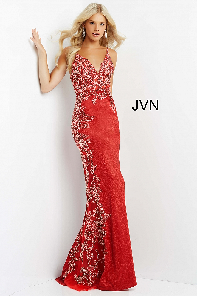 JVN2205 Red Embroidered Form Fitting Prom Dress