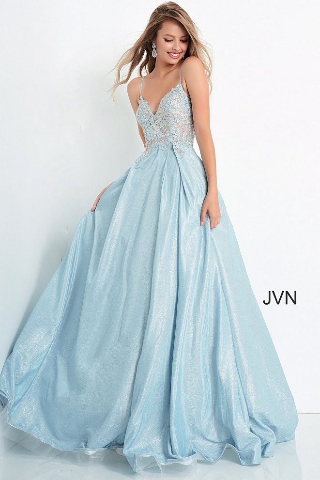 JVN2206 Embroidered Bodice Tie Back Ballgown