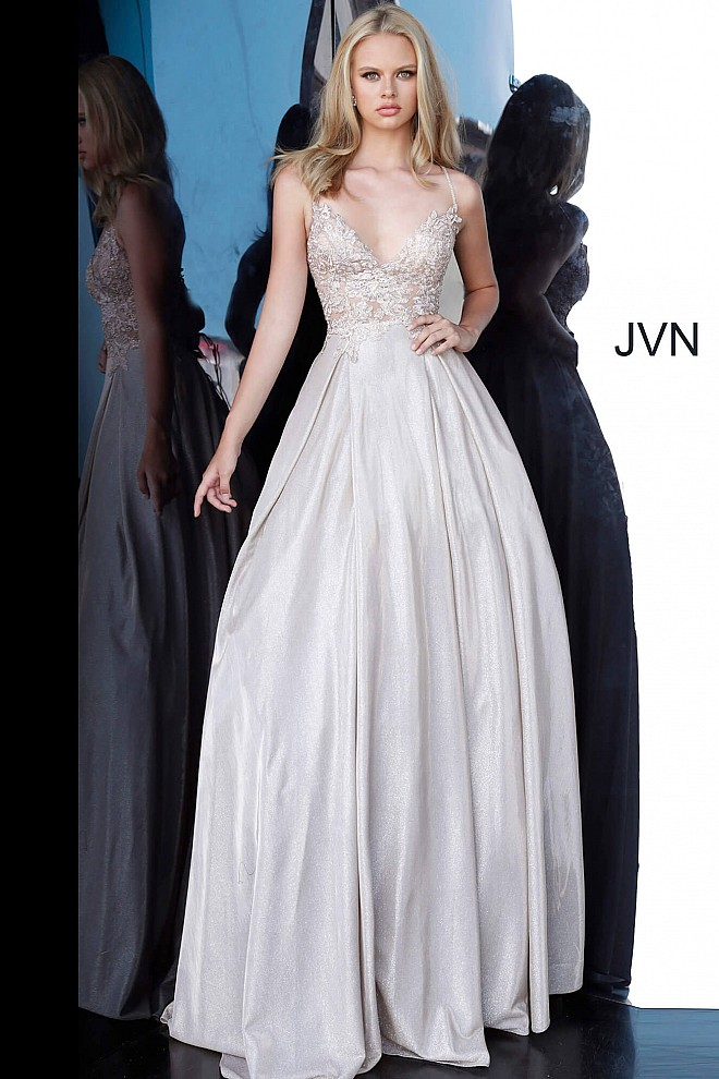 Nude Embroidered Bodice Tie Back Ballgown JVN2206