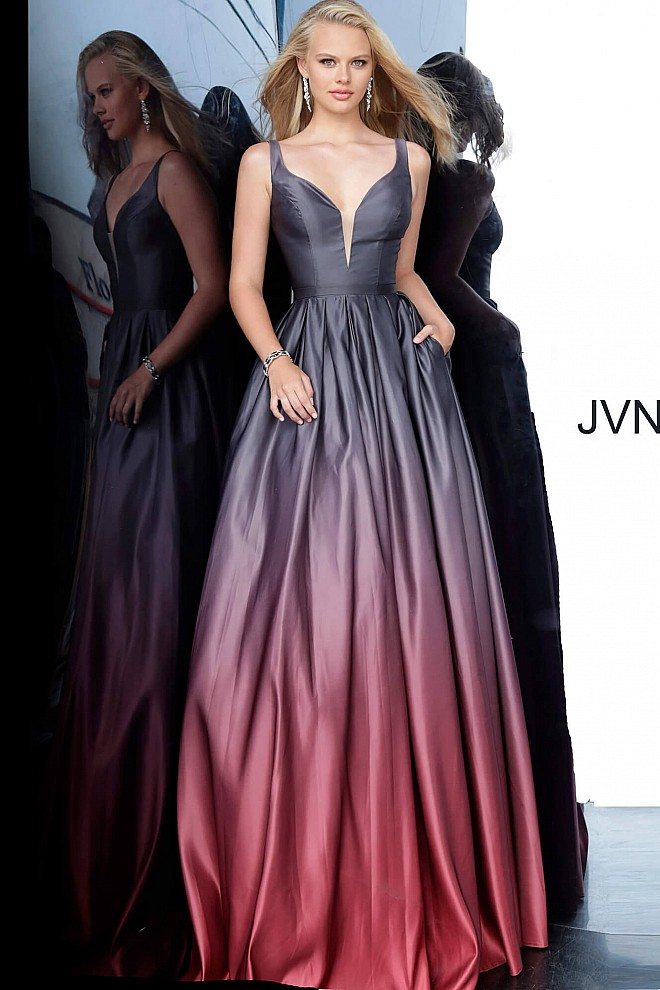 Black Wine Low V Neck Sleeveless Ballgown JVN2238