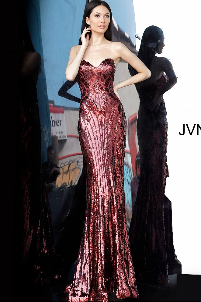 JVN2239 Burgundy Sequin Sweetheart Neckline Prom Dress