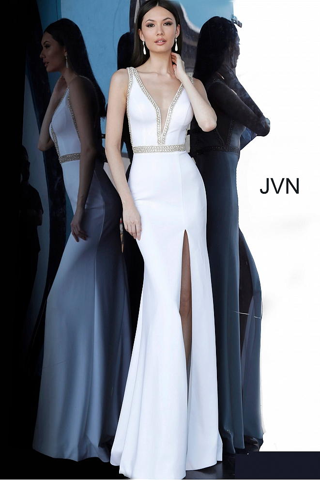 JVN2271 Off White Low V Neck High Slit Prom Dress