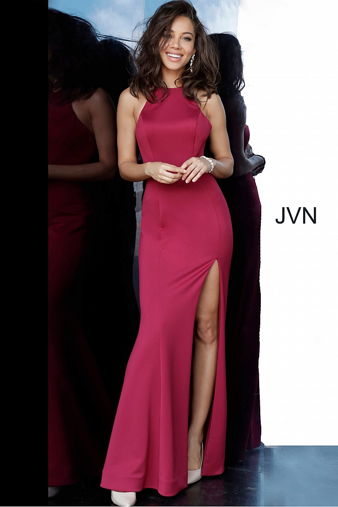 JVN2281 Wine Crew Neck Backless Fitted Prom Dress