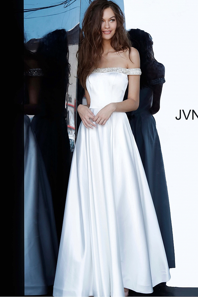 JVN2282 Off White Off the Shoulder Satin Prom Gown