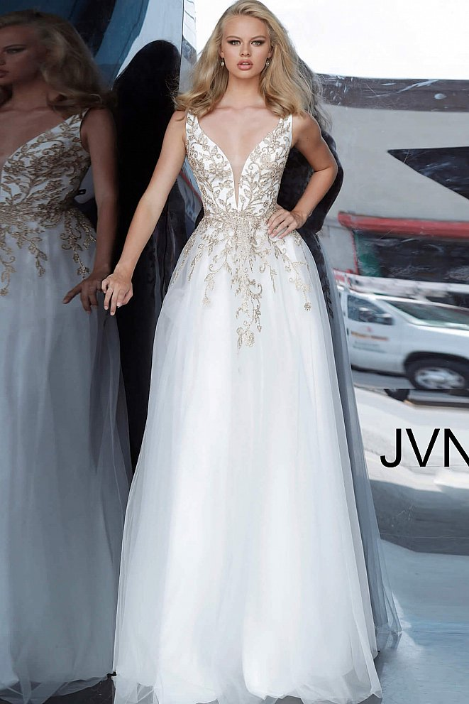 JVN2302 White Gold Embroidered Plunging Neck Prom Dress