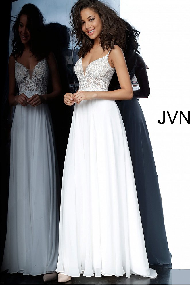 JVN2390 Off White Embroidered Bodice Maxi Prom Dress