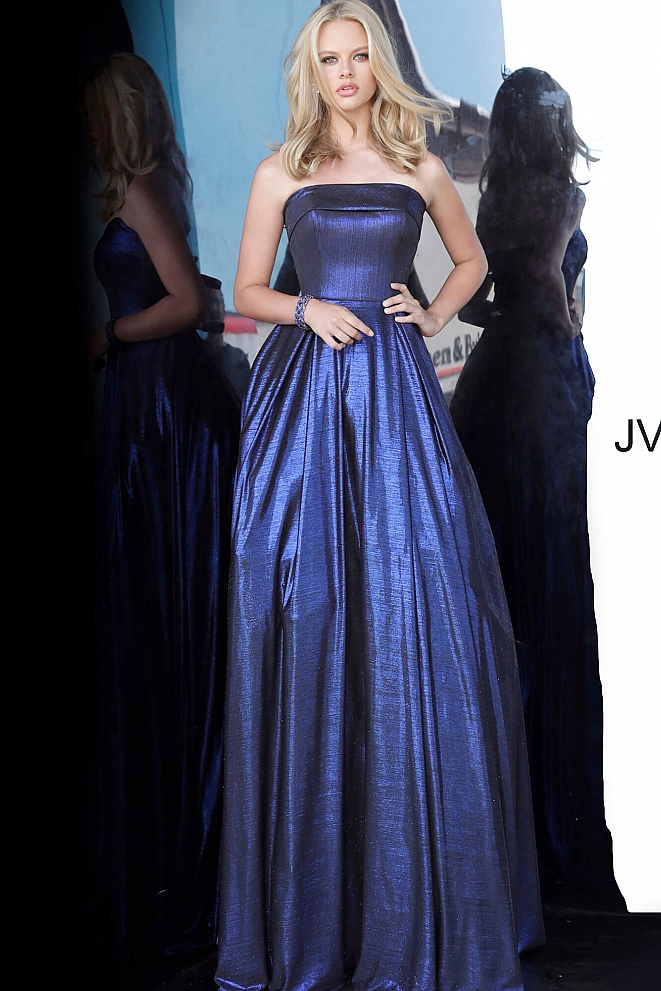 JVN2392 Royal Metallic Strapless Prom Ballgown