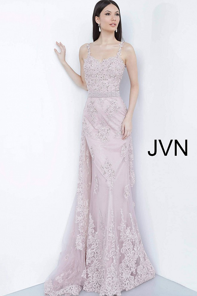 Dusty Rose Embroidered Sweetheart Neck Evening Dress JVN2444