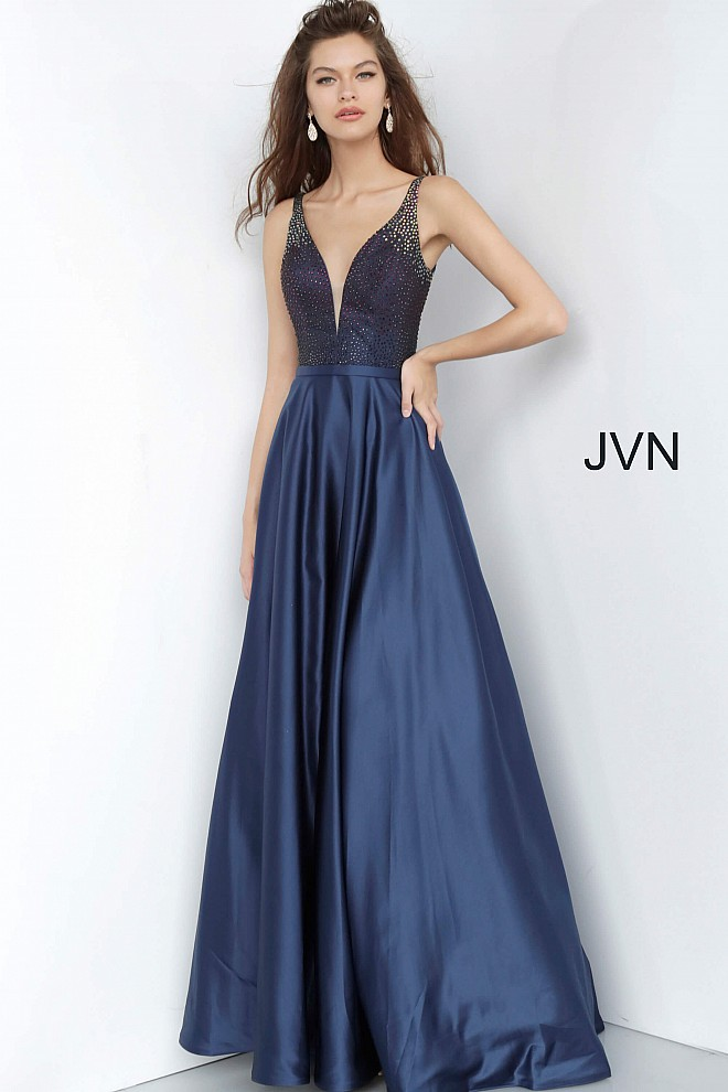 Navy Beaded Bodice Plunging Neck Prom Gown JVN2469