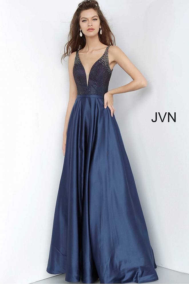 JVN2469 Navy Beaded Bodice Plunging Neck Prom Gown