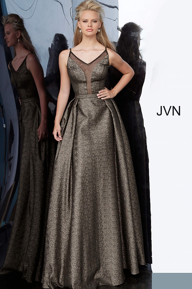 JVN2549 Black Silver Illusion V Neck Prom Gown