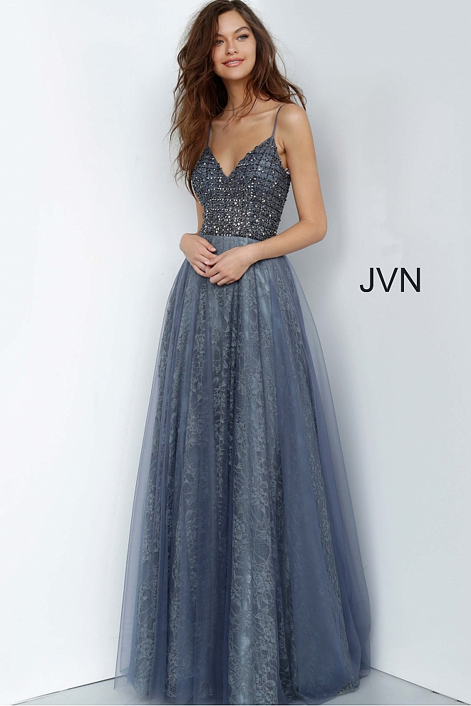 JVN2550 Grey Embellished Bodice V Neck Prom Dress