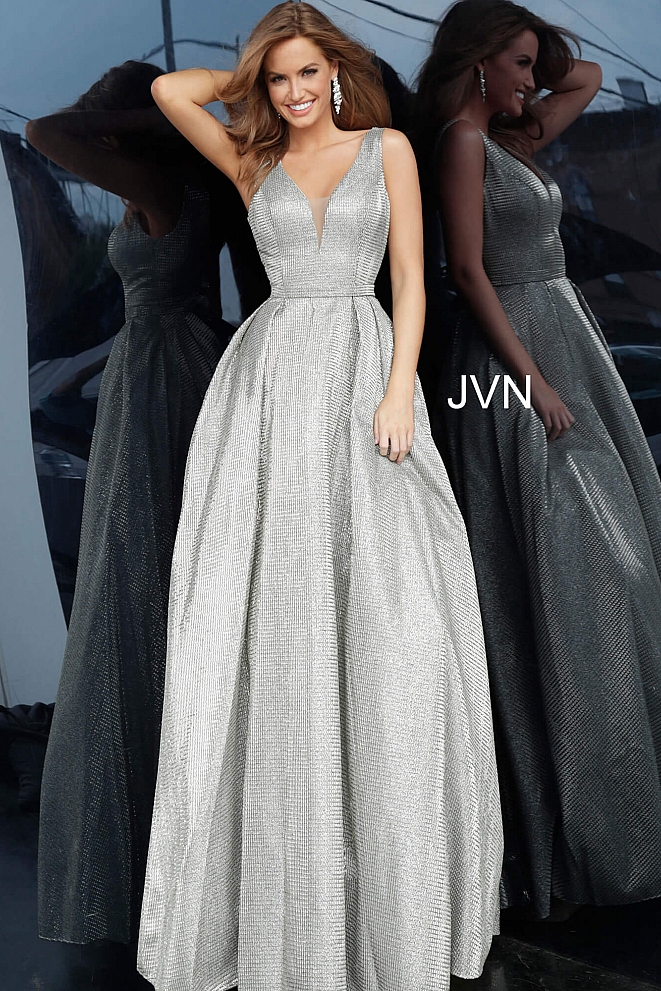 JVN2552 Pleated Skirt Sleeveless Prom Gown